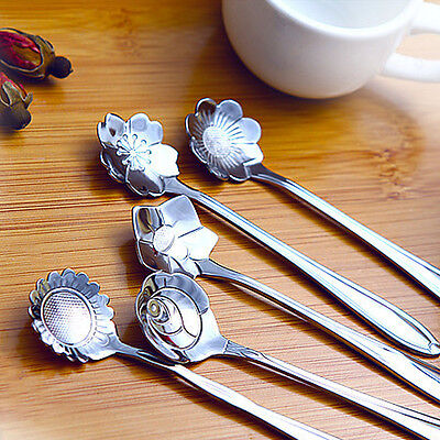 Chic 5pcs Coffee Spoon Flower Shape Stainless Steel Tea Spoon Ice Cream Spoons