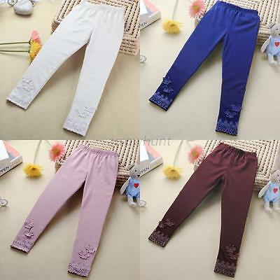 Newborn Kids Baby Girl Lace Butterfly Pants Stretchy Warm Leggings Trousers New