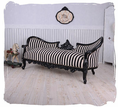 Vintage Large Sofa Black and White Stripes Couch Chateau