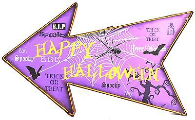 Light Up Battery Operated Hanging Metal LED Happy Halloween Sign Decoration