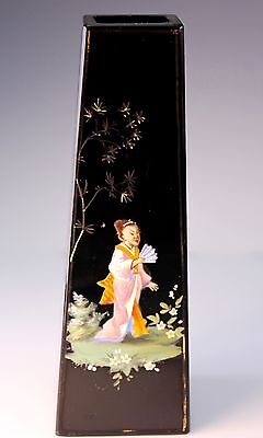 Bohemian Czech Harrach Black Glass Enameled Geisha Chinoisorie Vase