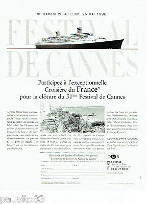 Publicité Advertising 1998 Le Paquebot Mistral Festival Croisières Breweriana, Beer Collectibles