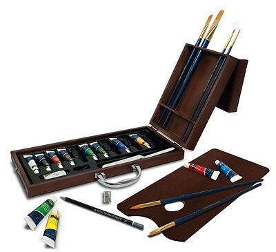 Artist Premier Deluxe Acrylic Painting Palette & Brushes Wooden Case Set Acr2020