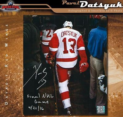 PAVEL DATSYUK Signed & Inscribed Detroit Red Wings Final Game 8x10 Photo - 70396