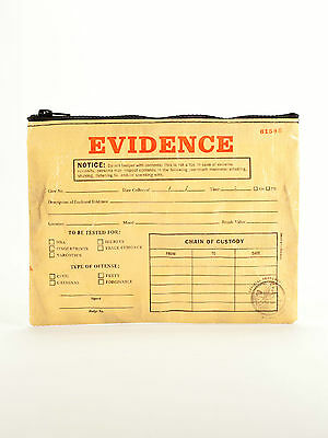"Blue Q ""Evidence"" Novelty CSI large zipper pouch bag recycled by Adam Hill"