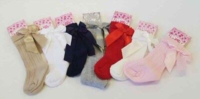 NEW Spanish / Romany Style Baby Girls Knee High Socks Satin Bow Newborn -6 years