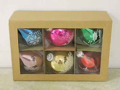 6 Glass Stencil Christmas Ornaments Pink Blue Red Green Etc New In Box