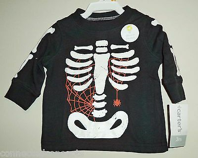 Carters Glow-in-the-Dark Skeleton Ribs Infant Boys T-Shirt (SIZE 3 Months) NEW!