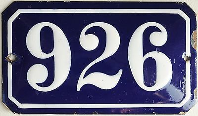 Old blue French house number 926 door gate plate wall plaque enamel metal sign
