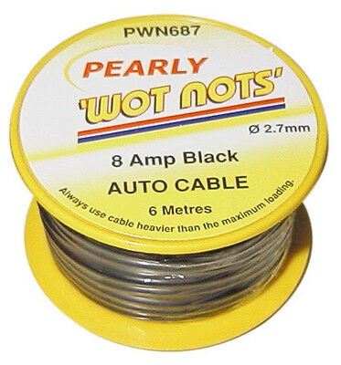 To Clear - Pearly Wot-Not Single Cable 8Amp X 6M Black Pc02/2  Pwn687