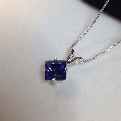 BEAUTIFUL Princess Cut Tanzanite Solitaire Pendant Sterling Silver Necklace NWT