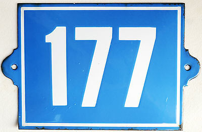 Big old French house number 177 door gate plate plaque enamel steel metal sign