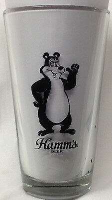 Hamm's Beer 16 Z Advertisting Glass Black Bear The Busted Nut Hastings Minnesota