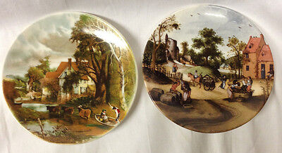 """Poole Pottery Dorset England 2 Scenic Plates 6"""" Cows Horses People Countryside"""