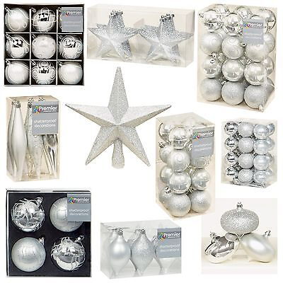 Silver Collection Christmas Decorations Baubles Stars Cones Hearts Tree Topper