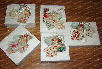 North Pole Place Angel Ornament Set (5) Ceramic, Handpainted Mother Pearl Finish