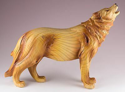 Howling Wolf Carved Wood Look Figurine Resin 7 Inch High New In Box