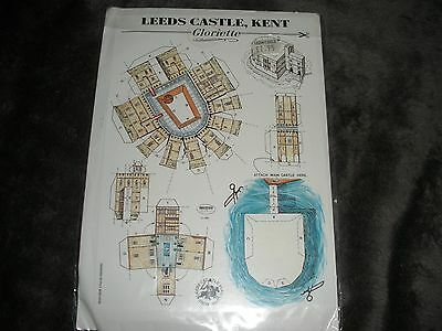 Leeds Castle, Kent-England Set/2 Cut Out Postcards-Make Your Own Castle!-MIOP