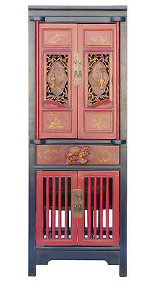 Chinese Black Red Narrow Wood Carving Storage Cabinet cs1868
