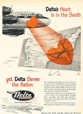 1951 Delta Airlines Heart in the South Vintage Advertisement Print Ad J518