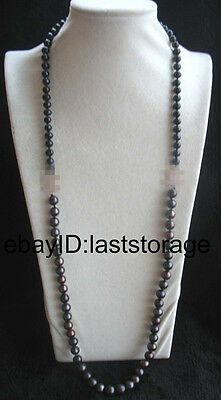 freshwater pearl black round 7-8mm 9-10mm necklace 32inch