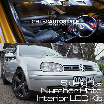 VW GOLF MK4 IV 15pc INTERIOR LED CAR LIGHT KIT PURE XENON WHITE SIDELIGHT BULBS