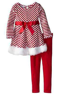 Bonnie Jean Girl Sequins Fur Stripe Holiday Christmas Santa Outfit 12M 18M 24M