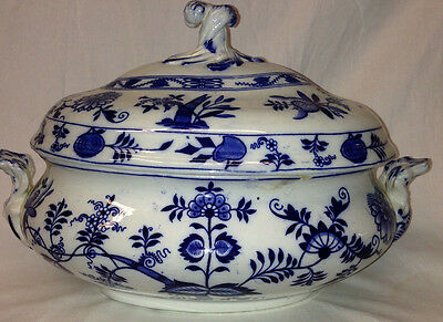 "Meissen England Blue Onion  Oval 13"" Wide Tureen & Lid Flow Blue Floral & Leaves"
