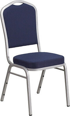 Hercules Series Crown Back Stacking Banquet Chair With Navy Fabric