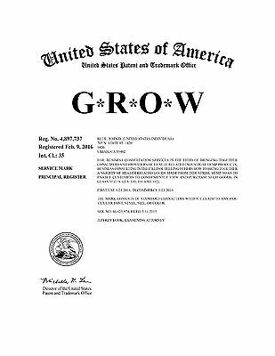 G*R*O*W® a Federal Registered SERVICE MARK is FOR SALE