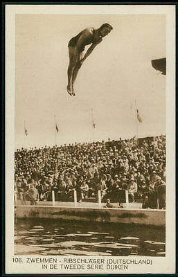 Sports Olympic Games 1928 Ribschlager Germany diving original old postcard