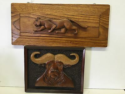 Pr 70s Vintage Folk Art Carved Wood Panther Water Buffalo Plaque TDavis Oklahoma