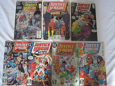 JUSTICE LEAGUE EUROPE #s 1,2,3,4,5,6,7 COMPLETE by GIFFEN,DeMATTEIS,SEARS.1989