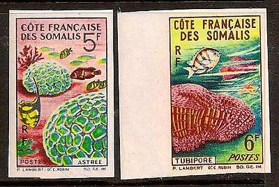 FRENCH SOMALIA 1963 FISH IMPERF SC # 298a-299a MNH
