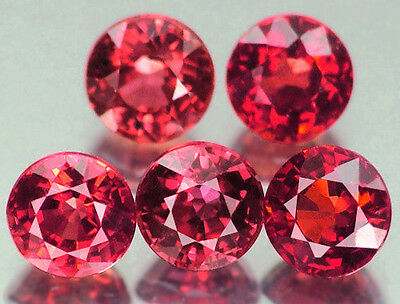 5 PIECES OF 3mm ROUND-FACET HYDROTHERMAL HOT-RED RUBY GEMSTONES
