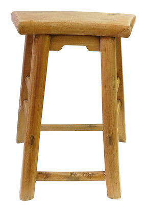 Chinese Rustic Raw Wood Accent Sitting Stool cs1828
