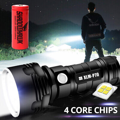 2020 Super bright 90000lm Flashlight CREE LED P70 Tactical Torch 5000mAh Battery