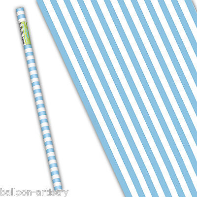 5ft Blue & White Stripes Striped Style Party Gift Wrap Wrapping Paper Roll