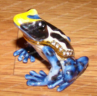 BeJeweled Blue Mantella, Poison FROG, 3387 Baked Enamel Trinket Box