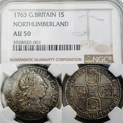 Very Rare KING GEORGE THE III 1763 NORTHUMBERLAND SHILLING AU 50 .Reduced price