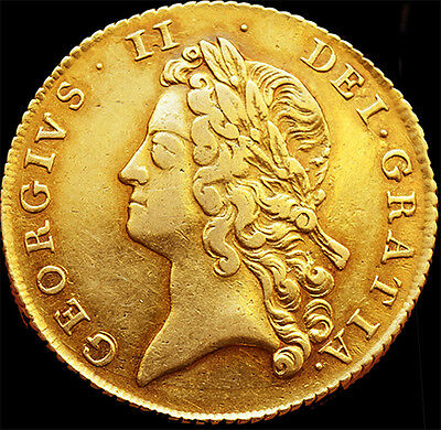 Rare KING GEORGE THE II 1738 TWO GOLD  GUINEAS. 16.4 Grams