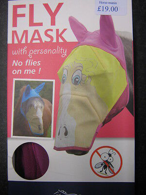 Shires Funny Face Fly Mask With Nose & Ears Pink Or Blue End Of Line Sale 6654P