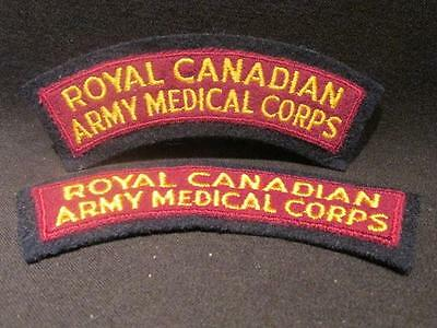 Royal Canadian Army Medical Corps Post WWII Pair Embroidered Shoulder Flashes
