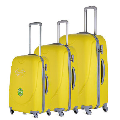 4 Wheel Luggage Suitcase Trolley Holiday Travel Bag Case 3 Piece Set Hard Shell
