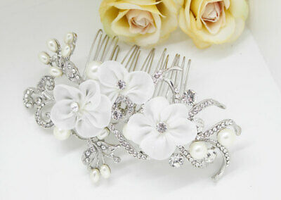Vintage hair comb bridal wedding crystal rhinestone with lace flowers ha30530