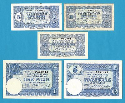 Sarawak Rubber Export Coupons 5 Katis - 5 Piculs Valid 31st Mar. 1942 5 Pc. Set