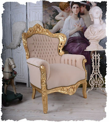 CHAIR Shabby Chic France Chair VINTAGE Chair BEIGE WING CHAIR ROCOCO