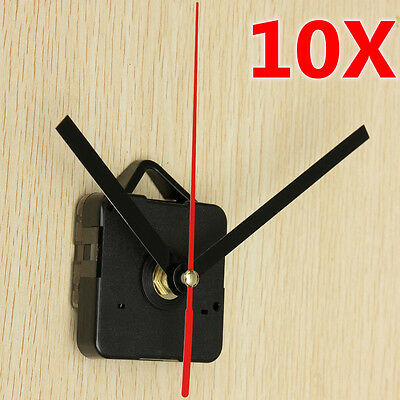 10x DIY Black+Red Spindle Hand Quartz Clock Movement Mechanism Repair Tools Gift