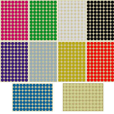 16mm Round dot Stickers Coloured Circles Small Circular Sticky Labels 10 colours