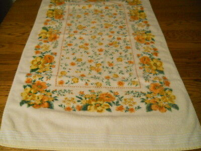 Retro 100 % Cotton Floral Bath Towel Golds Yellows Cannon Usa